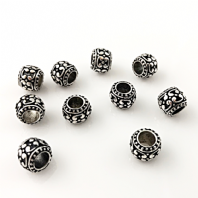 10 Antique Silver European Charm Beads 10x9mm BEADS